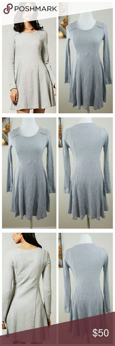 Anthropologie Eloise Chiara Gray Dress SM E by Eloise designs by Anthro. Excellent condition! Flattering, feminine style. Long-sleeve dress. Size small. Thermal with waffle knit and ribbed cotton fabric. Pleated skirt with cute accent buttons at the neckline on each side. Material: 88% Cotton/11% Polyester/1% Spandex. Anthropologie Dresses Long Sleeve
