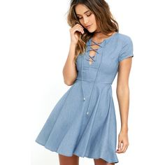 Always Wonder Blue Chambray Lace-Up Skater Dress ($56) ❤ liked on Polyvore featuring dresses, blue, flared skirt, lace up front dress, ruffle dress, short sleeve dress and lulus dresses