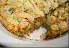 Cake batter blondies. 1 box yellow cake mix, 1/4 canola oil, 1 egg beaten, 1/4 to 1/2 cup milk, 1/4 cup rainbow sprinkles, 1/2 cup white chocolate chips (optional) Set oven to 350. Add mix, oil, egg, sprinkles, and white chocolate. Add milk using just enough to combine mix. Put in greased 8x8 pan cook for 25-30 mins and let set for 20.