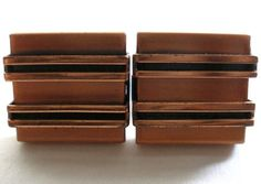 """Architectural MODERN Copper CUFFLINKS Vintage 1"""" ACROSS Mid 20th Century JEWELRY"""