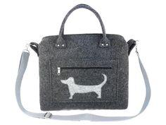 Dog handbag Felt purse Bag for women Anthracite bag Black bag Felt bag Designer handbag Felt shoulder bag Modern Large bag