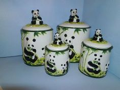 PANDA BEAR 3-D Canisters Set of 4 ^NEW^ Canister by KMC/KK-Panda. $51.67. Use to store cookies, crackers, noodles, flour, sugar, candy...whatever you want!. Perfect for ANY panda bear collector!. Great as a gift!. Create a personal and elegant touch to your kitchen!. Excellent attention to detail and such vibrant colors!. Take a look at these beautiful BRAND NEW Panda Bear Canisters. There are four different sized canisters in all. They have great color and detail. The lar...