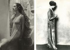 Mrs. William Wetmore on the left, looking regal in a Delphos gown with a Fortuny fabric backdrop in 1935. On the right, Fortuny's own Countess Gozzi in the Eleanora dress circa 1920s #fortuny #wmagazine #vintage #fashion