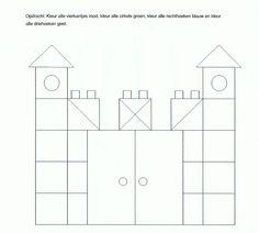 Werkblad - vierkantjes - kasteel