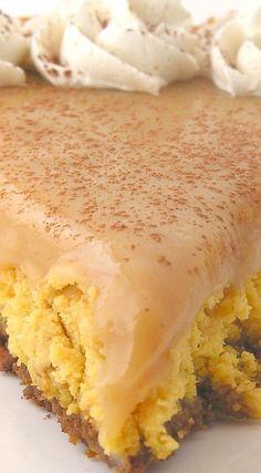 Butterscotch Caramel Cheesecake ~ Creamy butterscotch cheesecake and a thick layer of caramel sauce over a gingersnap crust