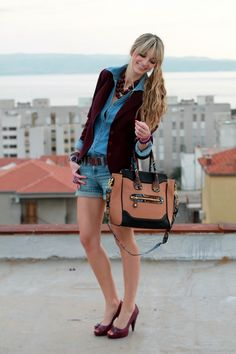 Blazer: Mango (last seen HERE)  Denim Top: Orsay  Jeans: Pepe Jeans  Shoes: Miss Sixty  Bag: Aldo