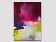 Original extra large abstract painting, bold colors, acrylic painting on stretched canvas, fuchsia magenta purple apple green artwork
