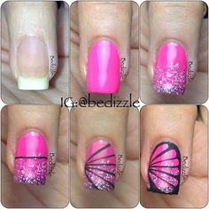 Butterfly Nail Tutorial - so doing this Fancy Nails, Love Nails, Diy Nails, Pretty Nails, Nail Polish Designs, Nail Art Designs, Nails Decoradas, Cute Simple Nails, Butterfly Nail Art