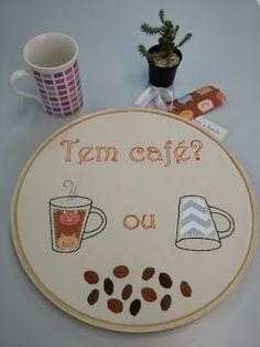 Pinto e Bordo - bordado livre com tem de café para a copa do escritório. #bordado #café #bastidor