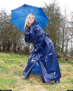 Blue pvc mackintosh with matching umbrella