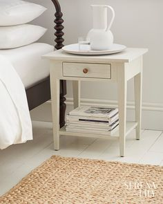 Clean lines and tapered legs give this wooden nightstand a charmingly modern look with coastal vibes. Beach House Furniture, Home Furniture, Furniture Design, Home Bedroom, Bedroom Decor, Teen Bedroom, Brass Drawer Pulls, Coastal Bedrooms, Home Rugs