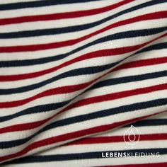Bio Stretch Jersey Stoff BREST - gestreift - Offweiss Navy Chilli b10ef7dc1f