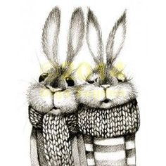 Bunny couple in mufflers.