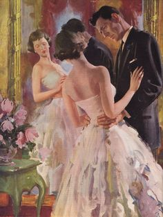 This image is the illustration by Harry Anderson that accompanied the condensation of Nine Coaches Waiting in the September 1958 issue of Ladies Home Journal. Harry Anderson, Most Beautiful Paintings, Color Copies, Vintage Romance, Traditional Paintings, Couple, Grace Kelly, Magazine Art, Best Artist