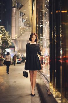 Korean fashion | black dress