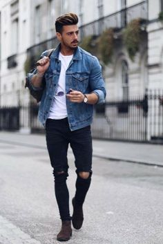 How to Wear A Denim Jacket In Style For This Fall 3. Click image to see more. #men #outfits #UrbanMenOutfits #mensfashion #mensguides #menswear #menstreetstyle #stylish #trendy #streetstyle #fall #fallfashion #falloutfits #fashion #ootd #jacket #denim #denimjacket How To Wear Denim Jacket, Denim Jacket Fashion, Mens Fashion Suits, Men Denim Jacket Outfit, Jacket Jeans, Ripped Denim Jacket Mens, Jackets Fashion, Men Shorts, Fashion Hoodies
