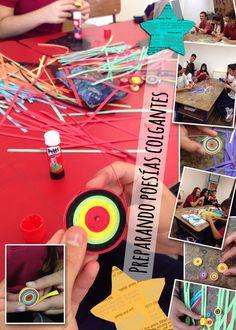 #poesías colgantes en 4to de la #ESO @RealejosNazaret tiras de papel de colores enrolladas, utilizando destructora de #papel y #cartulinas ;)