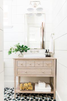 Wide shiplap planks, bleached oak vanity and cement tile floors || Studio McGee