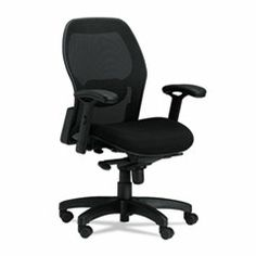 Stylish combination of fabric and mesh for total comfort. Lumbar support helps reduce back pain. Arms adjust to accommodate each user`s needs. Product Detail for MLN3200: Mercado Series Mid-Back Mesh Chair, Mesh Back/Fabric Seat, Black; Available at mcshanes.com #gomcshanes #nwi #nwindiana #business #office #chairs