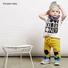 "New Summer "" GOOD VIBES ONLY"" Baby Boy Clothing Set Soft Breathable Fabric Tracksuit 2 Piece Set"