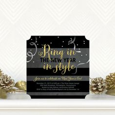 Ring In Style - Flat Holiday Party Invitations in Black and Gold. #NewYears