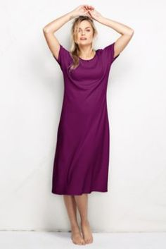 Women's Short Sleeve Solid Cotton Midcalf Nightgown from Lands' End