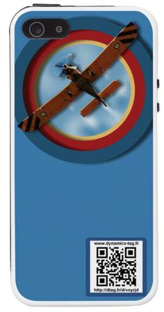 Coque de portable IPhone 5/5s associée à une carte de visite virtuelle via un qrcode : illustration : Airplane