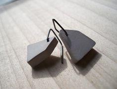 New definition for 'blockhead' - Geometric Concrete Earrings by Berezki | Betonsierraad - betonnen oorbellen