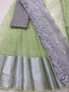 Latest Bridal Lehenga, Half Saree Designs, Wedding Silk Saree, Beaded Jewelry, Jewellery, Indian Silk Sarees, Ethnic, Fancy, Pure Products