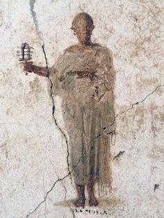 Priest of Isis, fresco (4th style) from the House of Loreius Tiburtinus, Pompeii (Unesco World Heritage List, 1997). Roman civilisation, 1st century AD