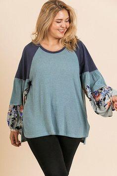 Women Fashion Plus Dainty Floral Print Waffle Knit Blouse 1XL 2XL 3XL