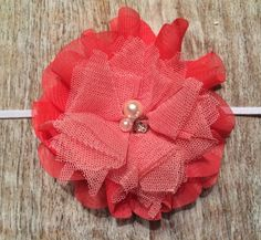 Two - Tone Coral & Salmon  / Double Flower /Headband or Hair Clip  $8