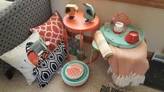 Outdoor decor.  Coral and Teal.