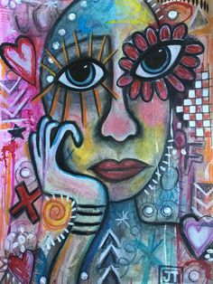 """""""The Joy of Nothing"""" by Julia Trembicki. Paintings for Sale. Collage Drawing, Art Drawings, Drawing Tips, Art Visage, Abstract Face Art, Art Therapy Projects, My Art Studio, Funky Art, Naive Art"""