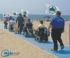 Beach accessible mat for special needs / disability  wheelchairs, strollers, crutches and adaptations. Why does every beach not own this??