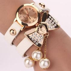 Bow knot dress fashion white rhinestones woman watch