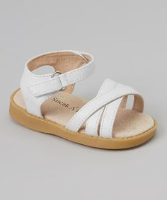 Look at this #zulilyfind! White Strapped Squeaker Sandal by Sneak A' Roos #zulilyfinds