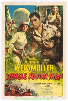 Tarzan Movies with Johnny Weissmuller | Details about JUNGLE MOON MEN MOVIE POSTER VF 1955 JOHNNY WEISSMULLER