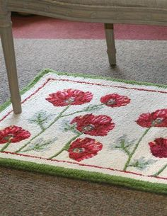 FIELD OF POPPIES HOOKED RUG