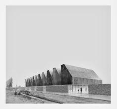 Re:Meat 'Cattle Site Factory', Sint-Truiden, Belgium Franky Larousselle Paper Architecture, Industrial Architecture, Architecture Drawings, Architecture Design, Factory Architecture, Land Use, Exterior, Places, Warehouses