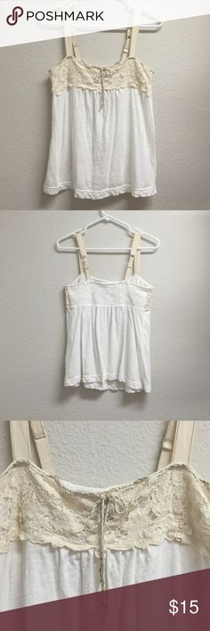 Lace tank Cream colored tank with lace detail across bust matching rope tie at front American Eagle Outfitters Tops