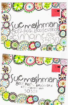 Circle doodle mail art
