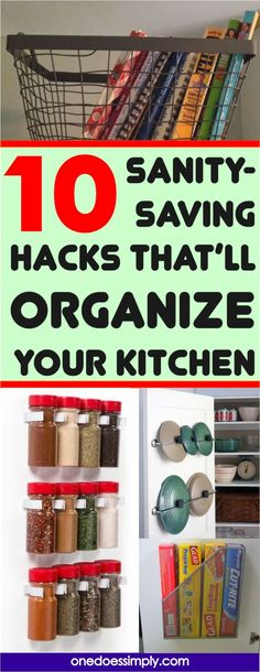 These 10 kitchen organization hacks are SUPER AWESOME! These are creative and effecitve hacks to quickly make the kitchen organized. I love these AMAZING hacks! #kitchen #organizing #organization #organizingtips #organizinghacks #home