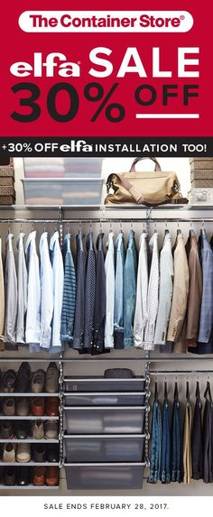 The Solid Translucent Drawers make switching over this closet for the next season, easy. Simply pop out the drawer and put a lid on it before storing it on a shelf. Shelves hold seasonal clothes and purses while the Solid Angle Metal Shelves hold your shoe collection.