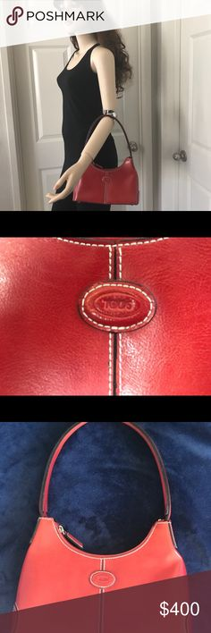 """NWOT Tod's Handbag Absolute luxury! This bag is not only beautiful but says """"I have arrived"""". The bright, beautiful red color will add a 'pop' to any outfit. Four metal feet protect the bottom of this high end bag. It can be worn with casual, dressy or business attire. I'm pricing it move so don't let it get away! Tod's Bags Shoulder Bags"""