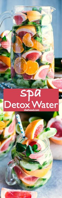 Spa Detox Water - Simple, healthy, and delicious spa detox water recipe prepared with citrus fruits, mint, and cucumbers. #detox #healthy #fruitwater #newyearsresolution via Katerina | Diethood