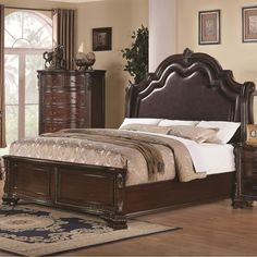 Brown Varnished Teak Wood Bed Frame With Carved Accent And Gray ...