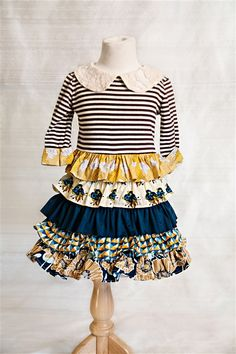 Navy blue stripe dress with peter pan collar http://www.mylittlejules.com/?Click=2754 navy and mustard girls dress Persnickety Clothing - Macie Jane Dress in Multi-color Fall 2013 Phase 2 Made in USA http://www.mylittlejules.com/?Click=2754