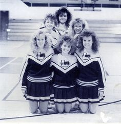1980's - Unknown Cheerleaders - Lincoln High School. (fiction) Front row, right: Valerie Jean Barwick, Aubrie's mother, in fall 1981.