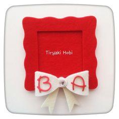 ♥ Tiryaki Hobi ♥: Keçe nikah / nişan şekeri /magneti - fiyonklu çerçeve  ---------   felt frames